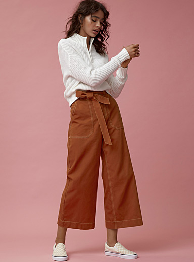 Tie-belt carpenter pant