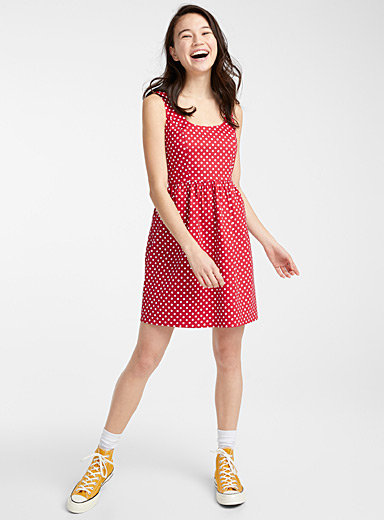 Twik Patterned Red Retro flared dress for women