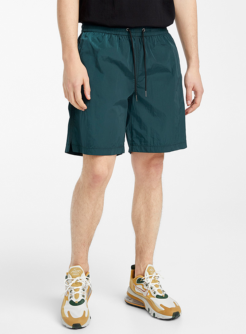 Djab Bottle Green Futuristic-sheen nylon short for men