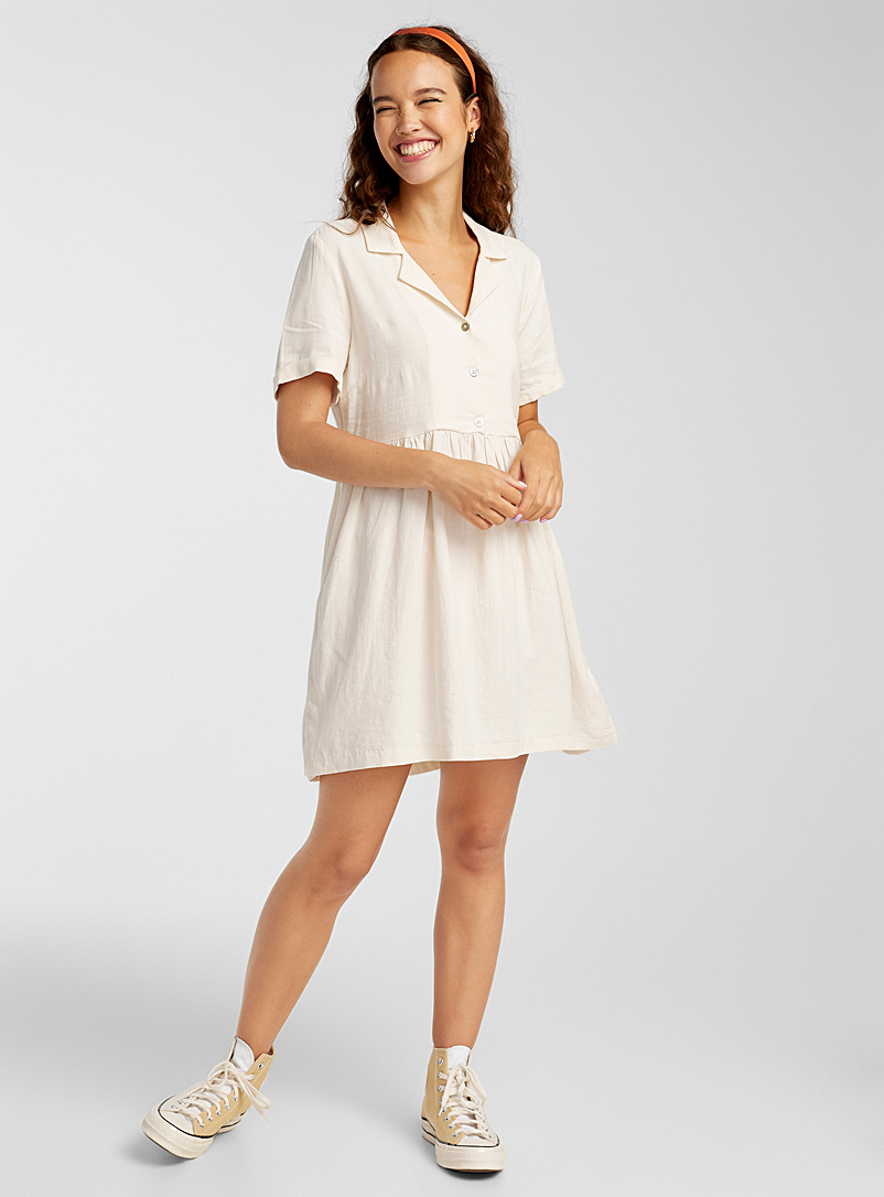Twik Cream Beige Shirt-collar babydoll dress for women