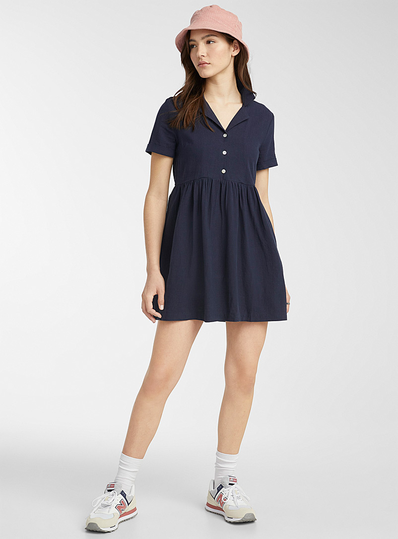 Twik Blue Shirt-collar babydoll dress for women