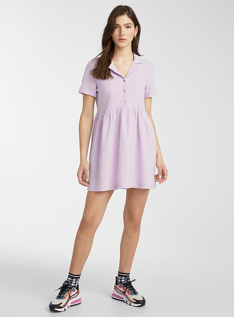 Twik Lilacs Shirt-collar babydoll dress for women