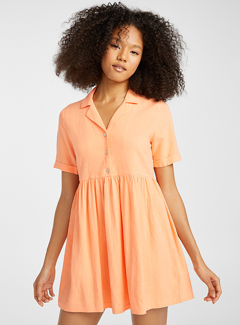 Twik Tangerine Shirt-collar babydoll dress for women