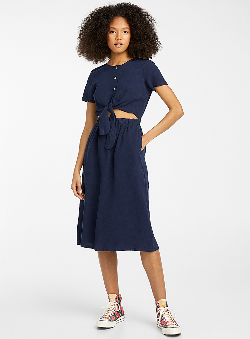 Twik Blue Little knot cutout midi dress for women