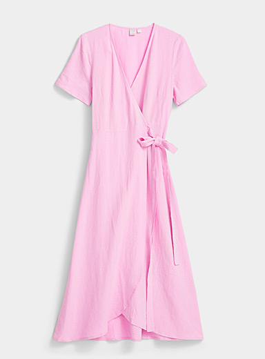 Twik Pink Knotted wrap dress for women