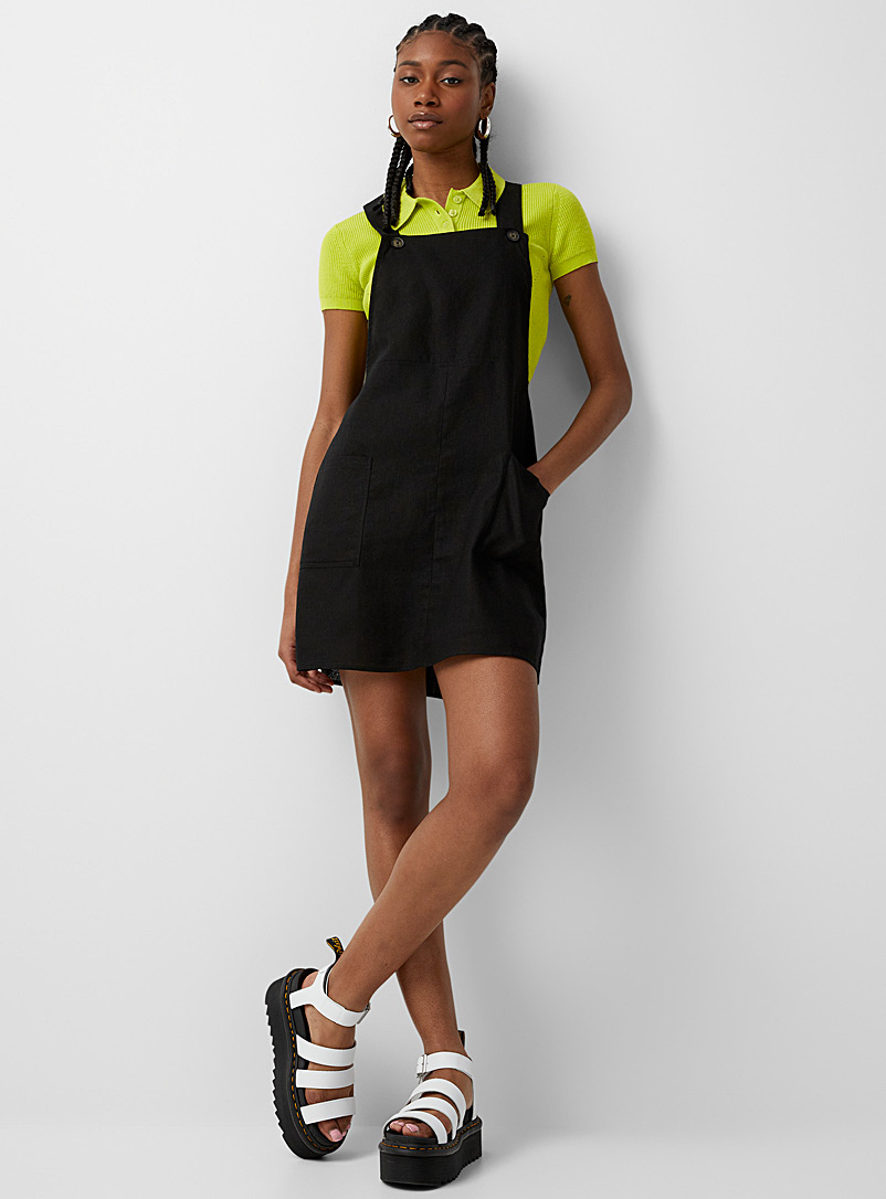 Twik Black Linen-blend apron dress for women