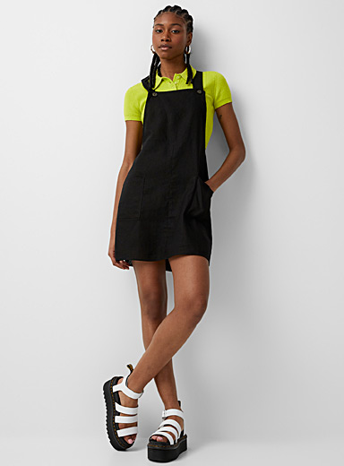 Twik Black Striped linen apron dress for women