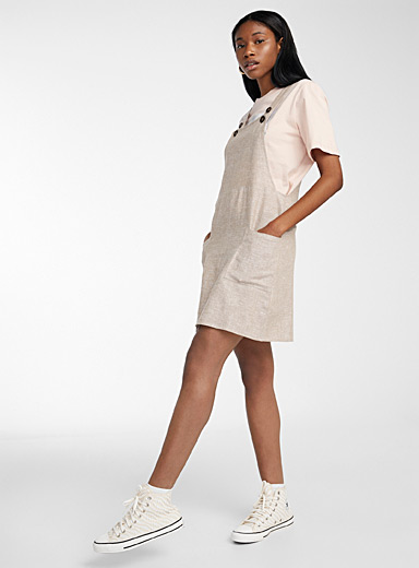 Linen-blend apron dress