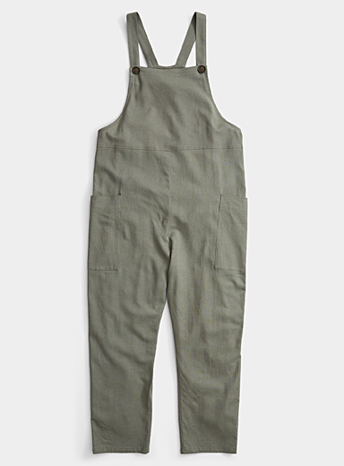 Twik Bottle Green Linen accent utility overalls for women