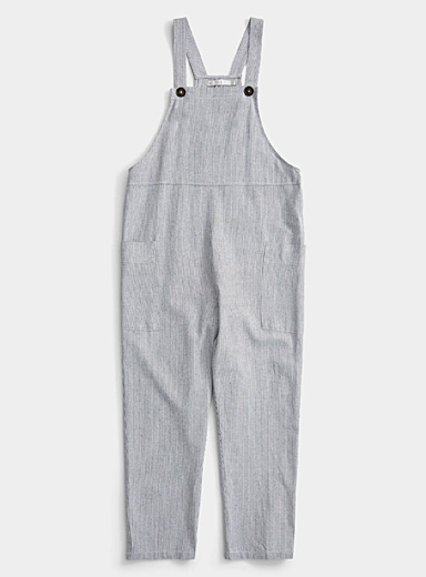Twik Patterned Blue Linen accent utility overalls for women