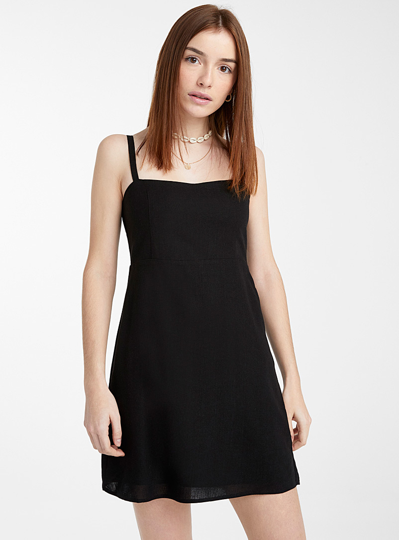 Twik Fawn Gingham square-neck dress for women