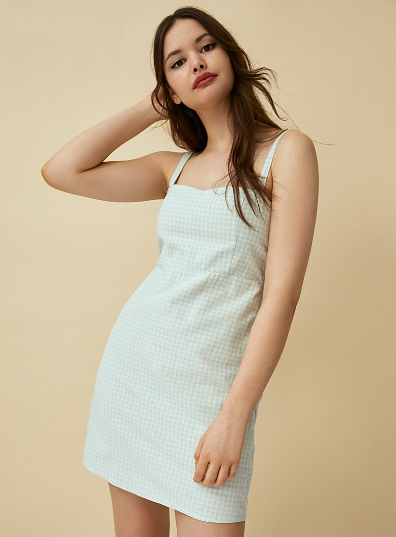 Twik Patterned Green Gingham square-neck dress for women