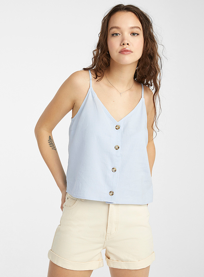 Twik White Natural-button linen cami for women