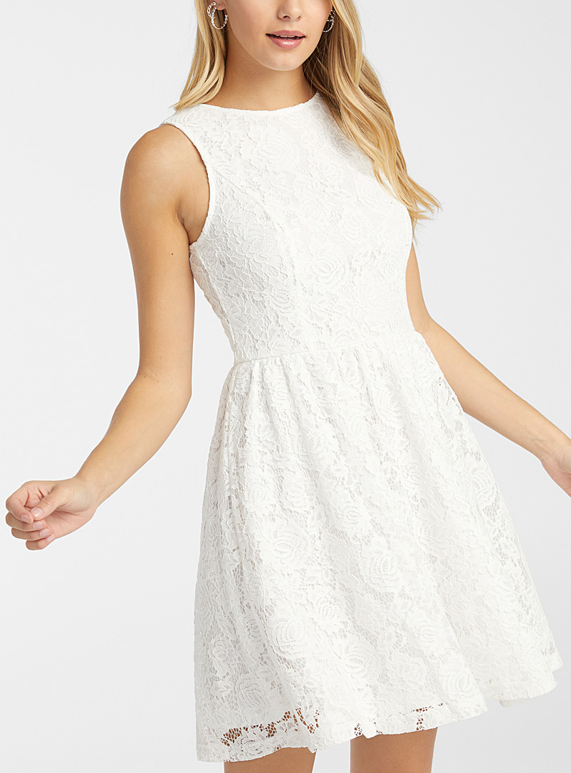 Twik White Floral lace fit-and-flare dress for women