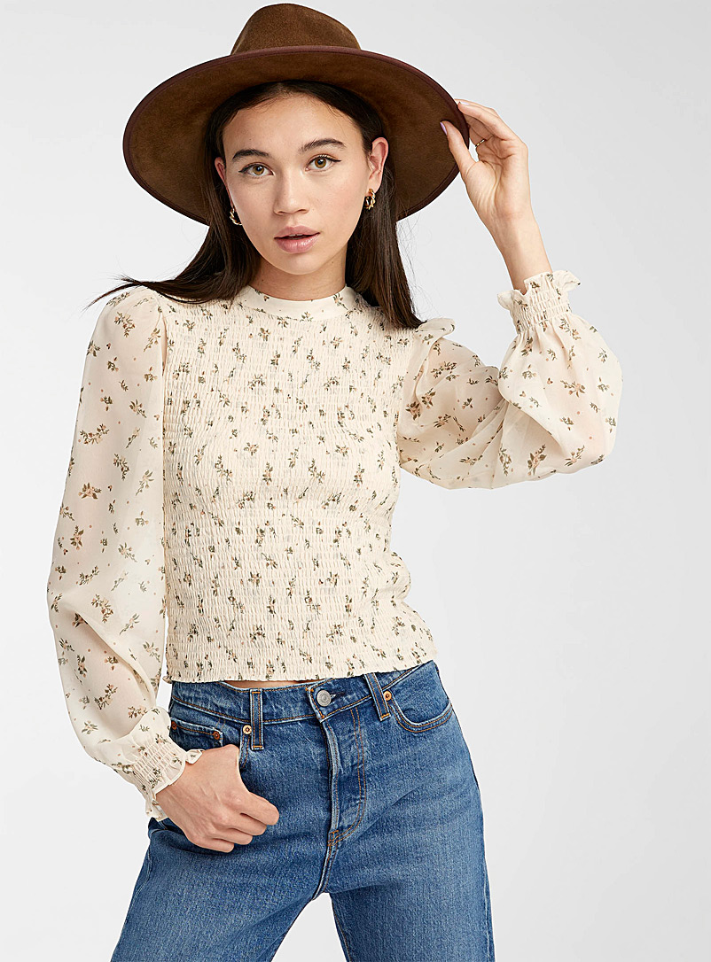 Twik Patterned White Smocked puff-sleeve blouse for women