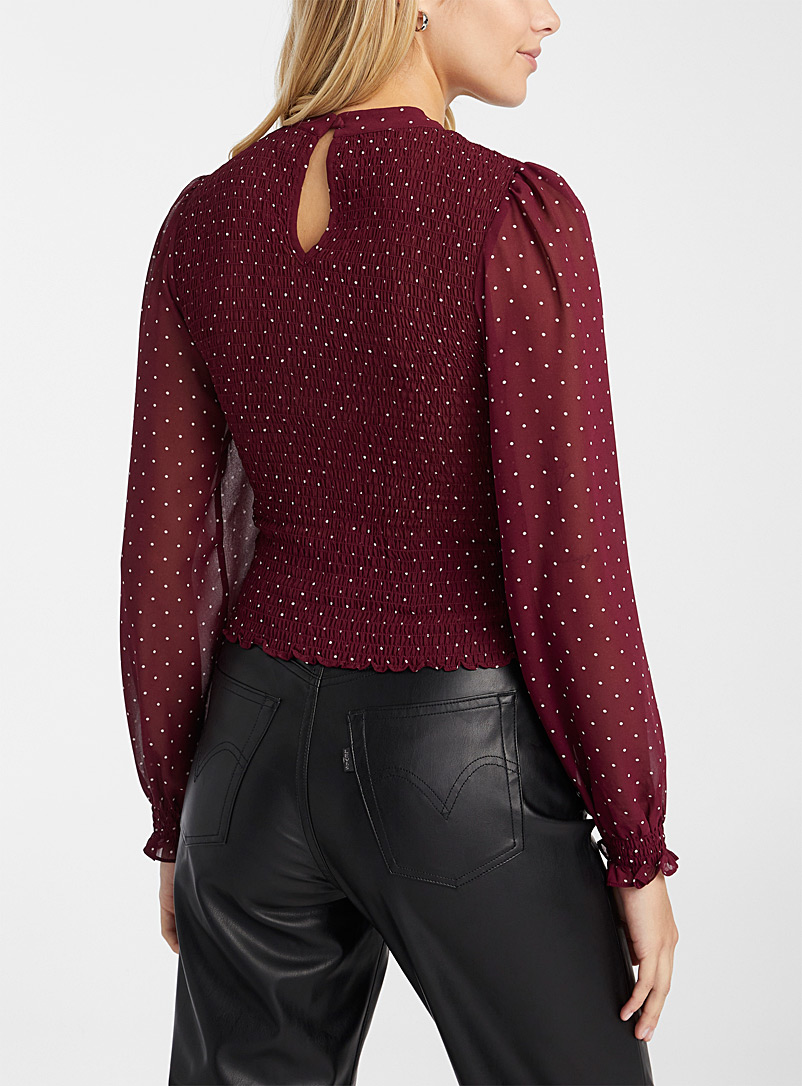 Twik Ruby Red Smocked puff-sleeve blouse for women