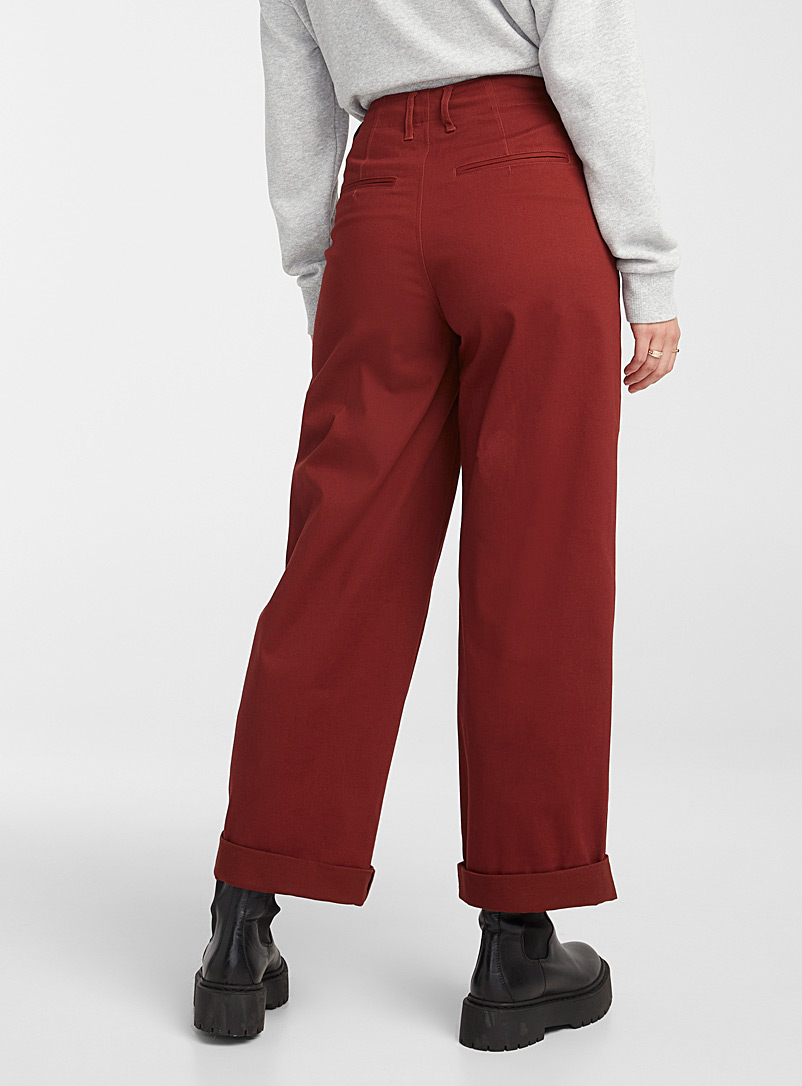 Twik Cherry Red Loose chino pant for women