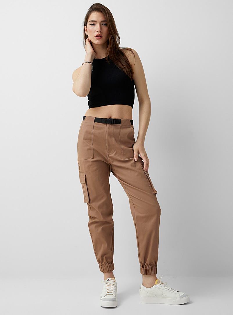 Twik Light Brown Structured twill cargo joggers for women