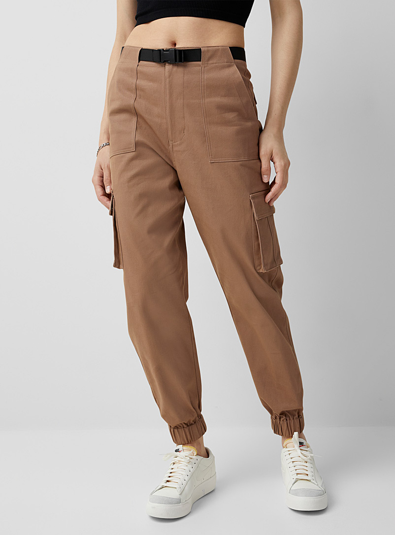 Twik Black Structured twill cargo joggers for women