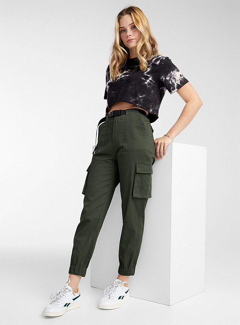 Twik Mossy Green Structured twill cargo joggers for women
