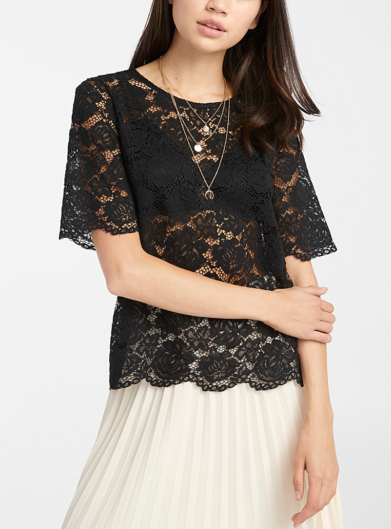 Twik Black Rose lace blouse for women
