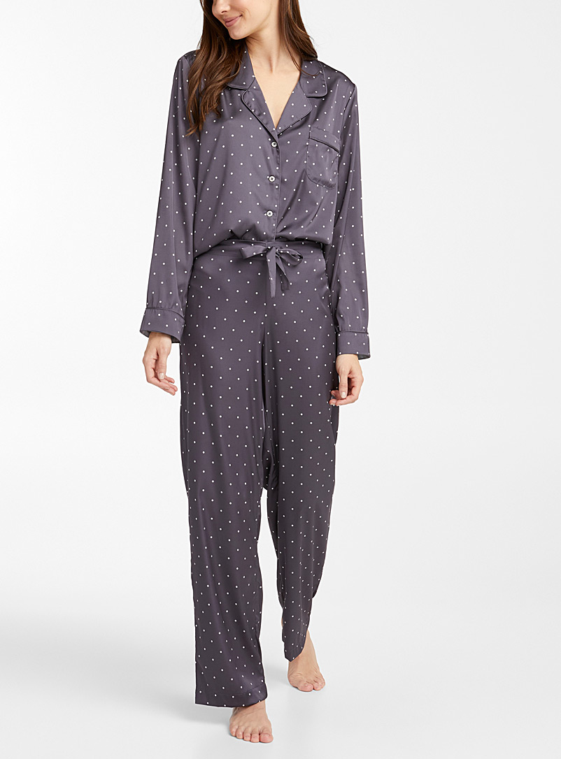 Miiyu Patterned Grey Satin-trim pyjama set for women