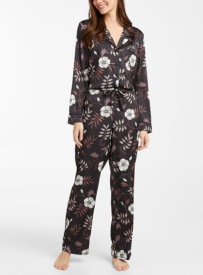 Miiyu Patterned Black Satin-trim pyjama set for women