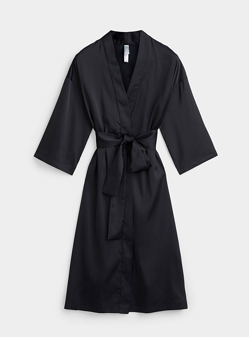 Miiyu Black Long satiny kimono robe for women