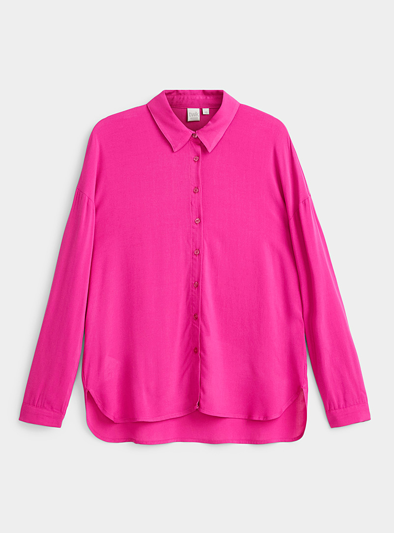 Twik Medium Pink Fluid solid shirt for women