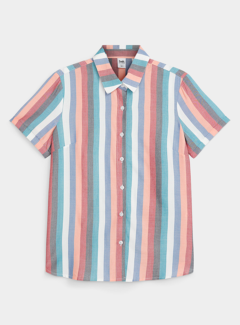 Twik Baby Blue Faded candy stripe shirt for women