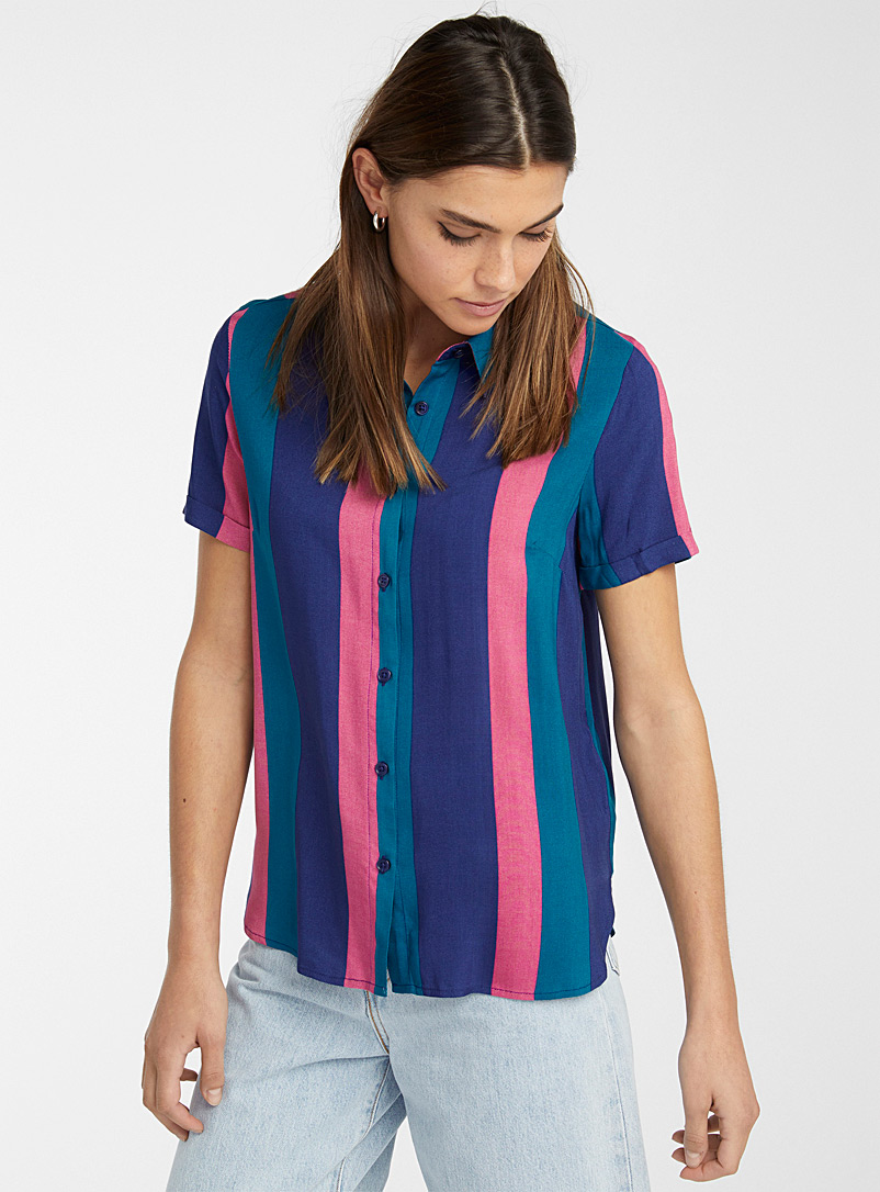 Twik Patterned White Faded candy stripe shirt for women