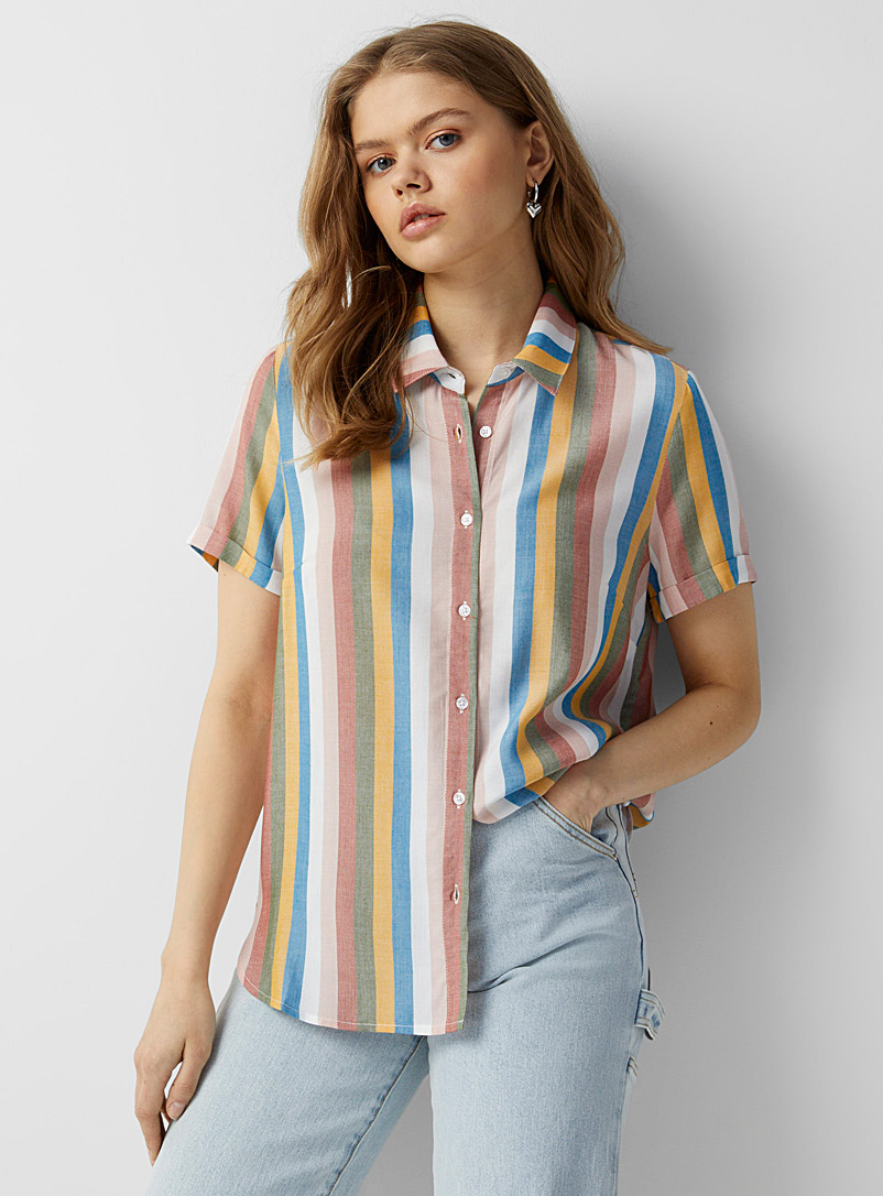 Twik Assorted Faded candy stripe shirt for women