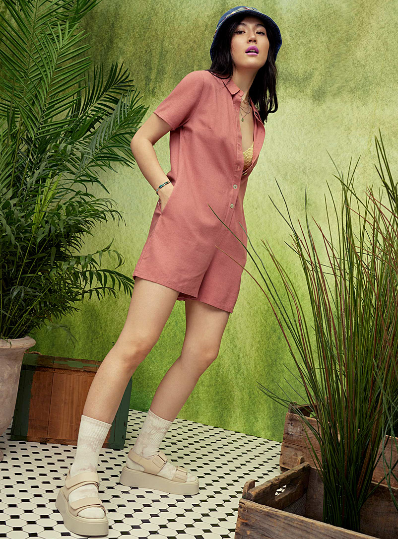 Twik Pink Button-up linen romper for women
