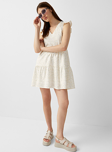 Gathered ruffled dress