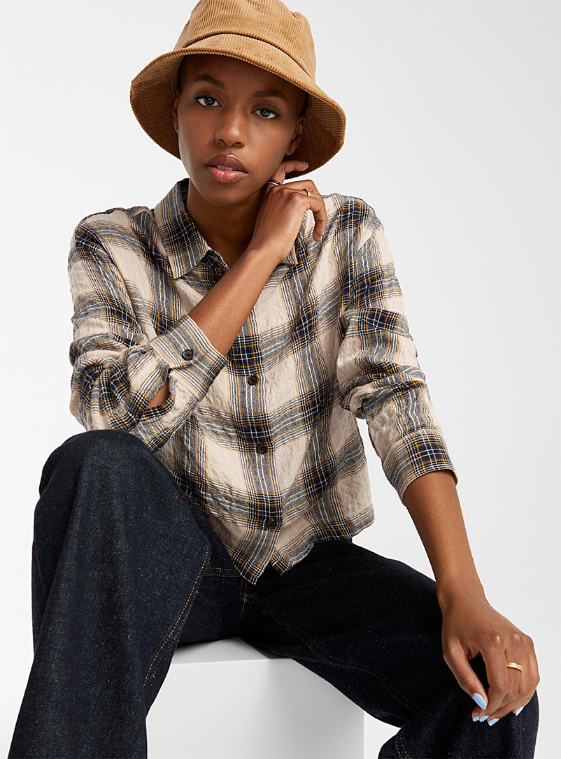 Twik Assorted Crinkled cropped check shirt for women