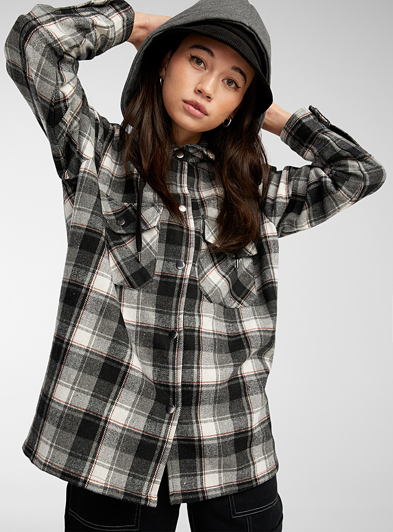 Twik Patterned Green Check hooded overshirt for women