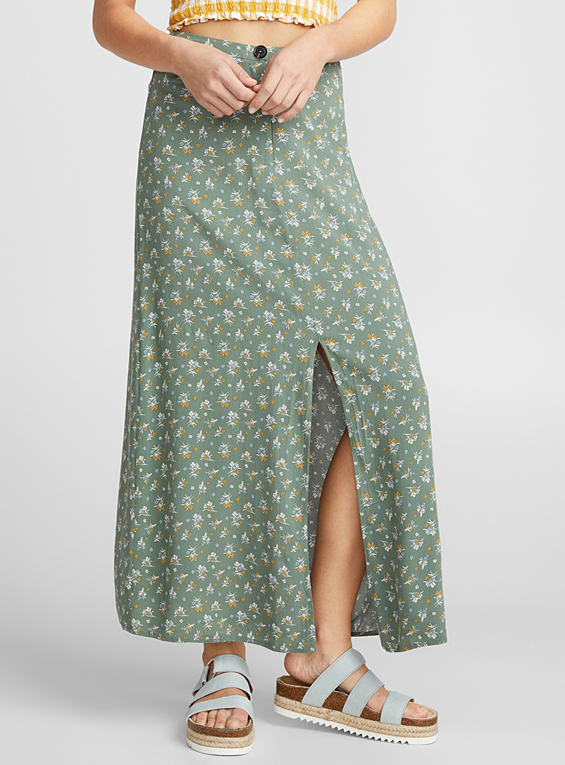 Summer countryside maxi skirt - Long - Patterned Green