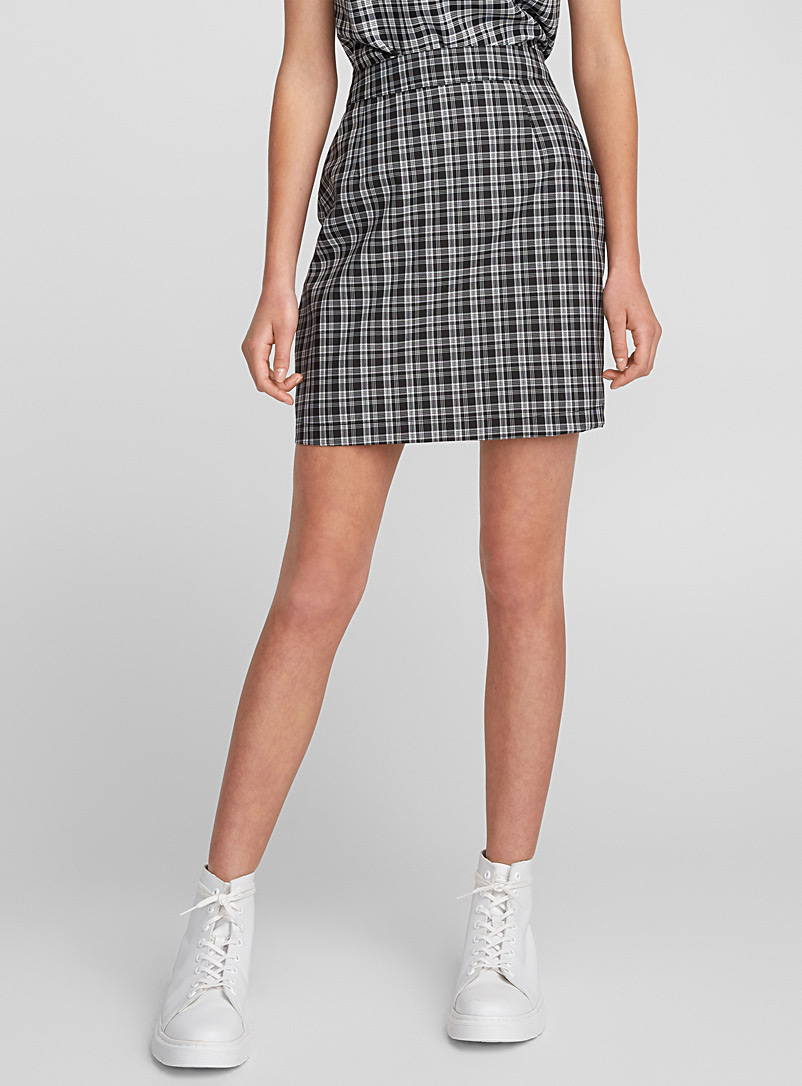 Mini-check miniskirt - Short - Patterned Black
