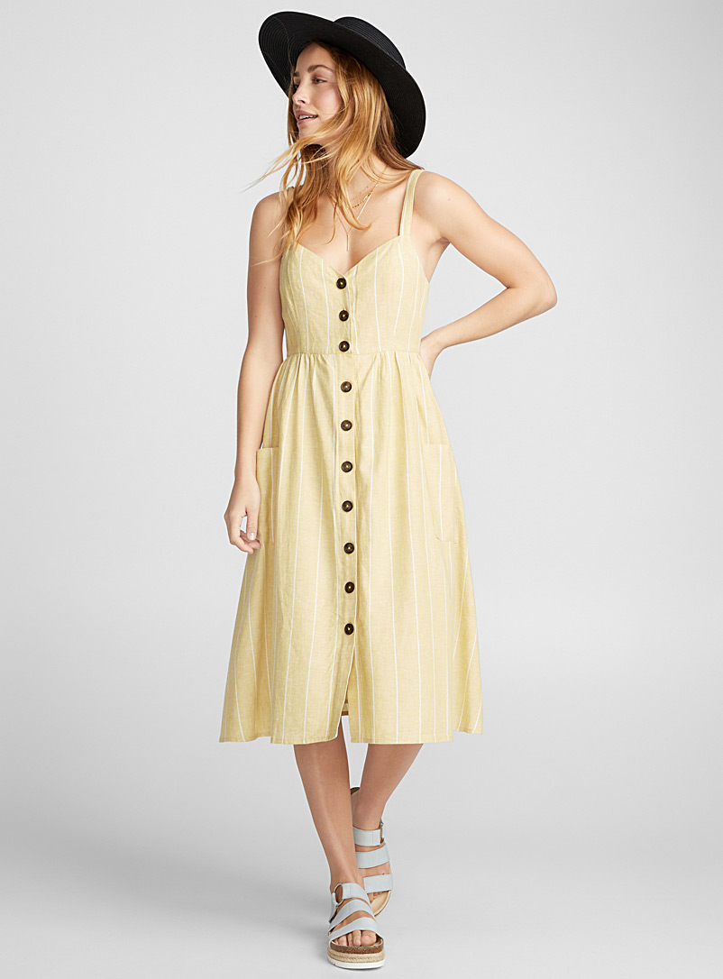 Country linen midi dress - Fit & Flare - Patterned Yellow