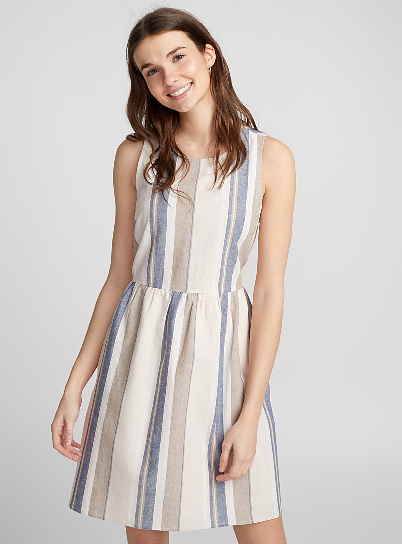 Country linen dress - Fit & Flare - Patterned Blue
