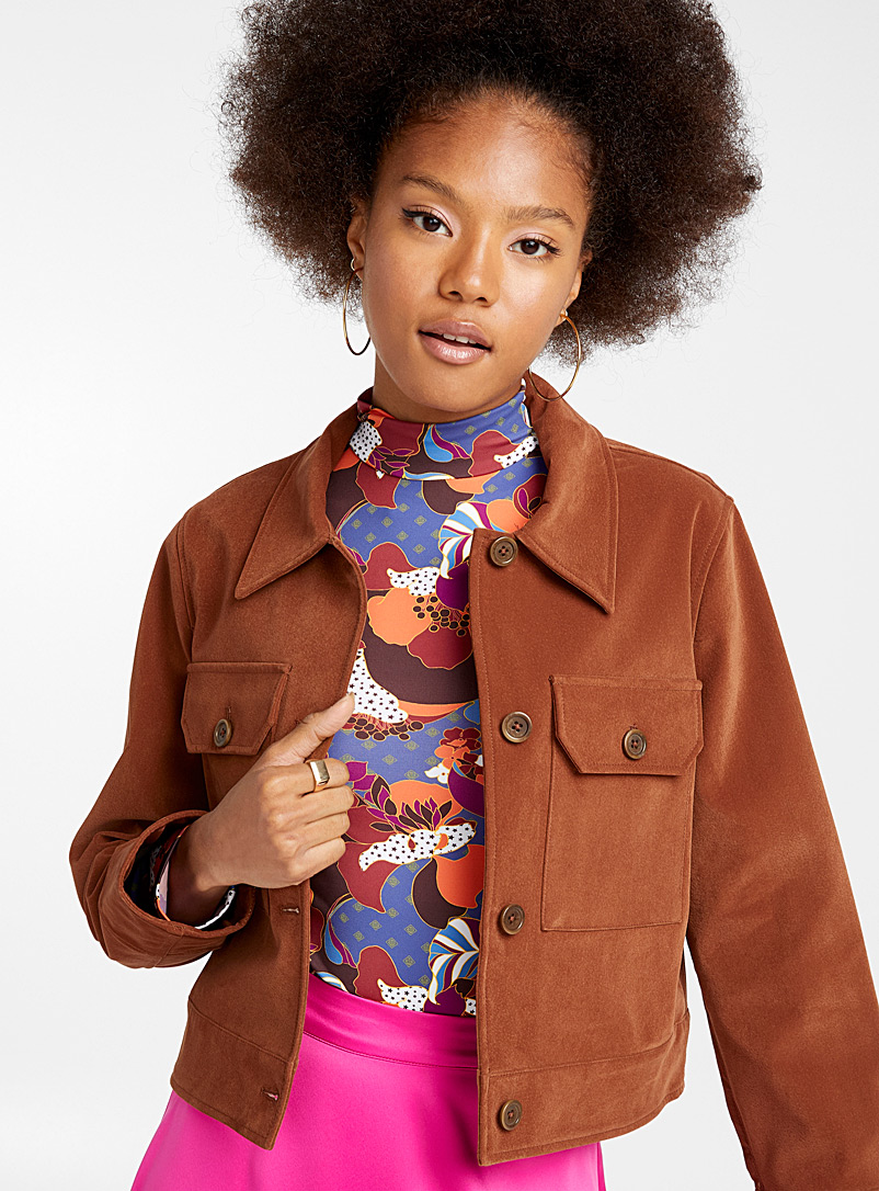 Faux-suede shirt jacket - Jackets - Medium Brown