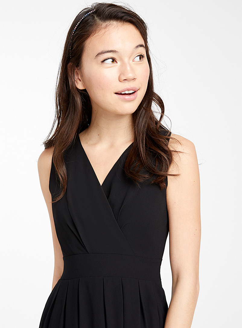 Wrap-front tie-waist voile dress - Fit & Flare - Black