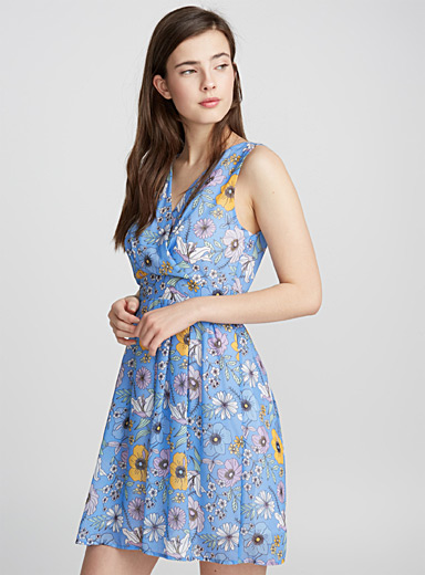 Wrap-front tie-waist voile dress