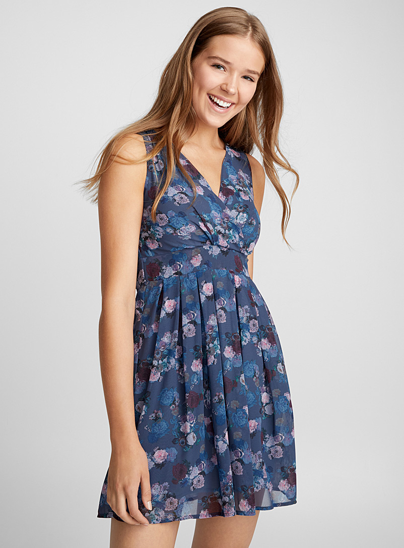 Wrap-front tie-waist voile dress - Fit & Flare - Assorted