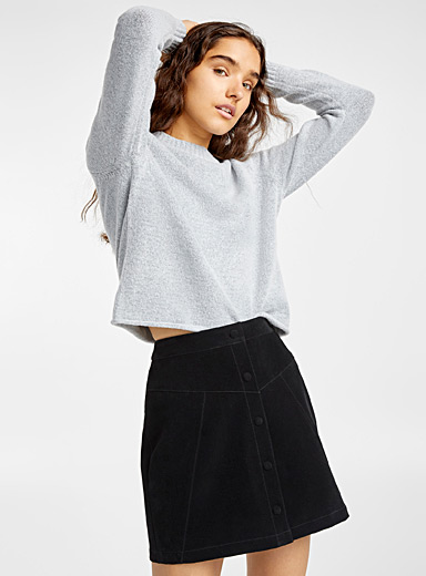 Graphic suede skirt