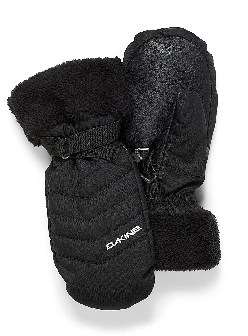 Sherpa cuff quilted mittens