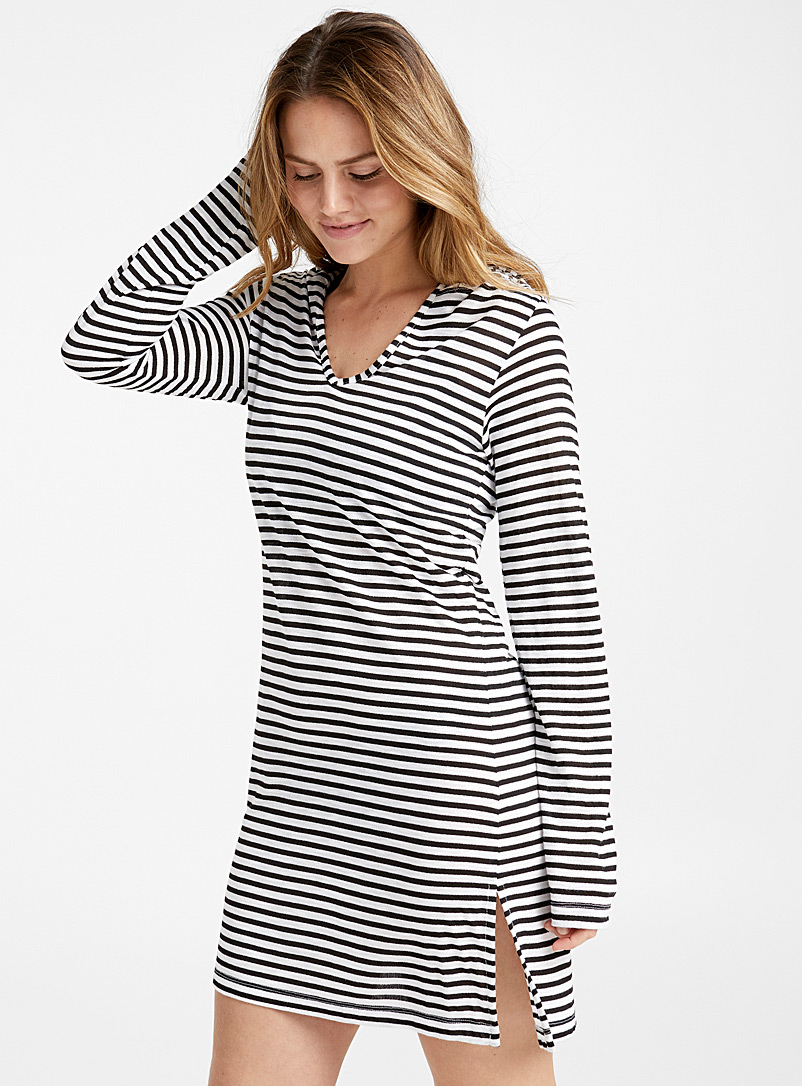 Hooded striped beach tunic - Dresses