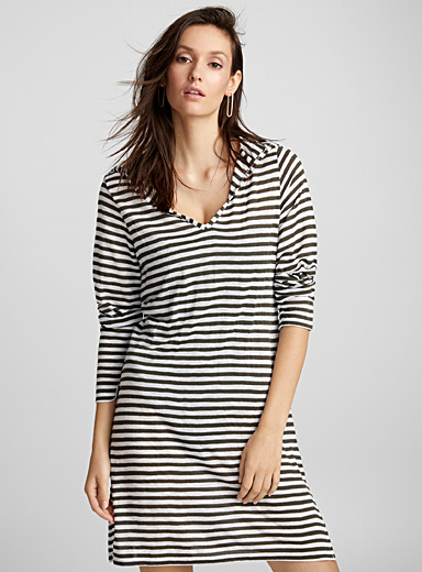 Hooded striped beach tunic