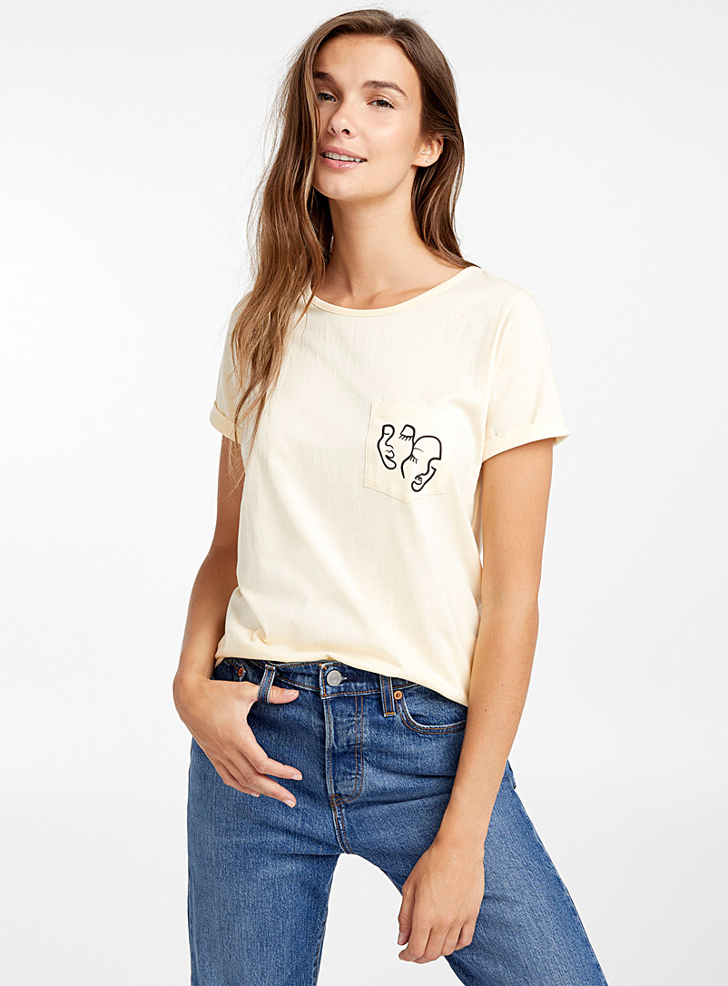 Organic cotton accent pocket tee - Organic Cotton - Assorted