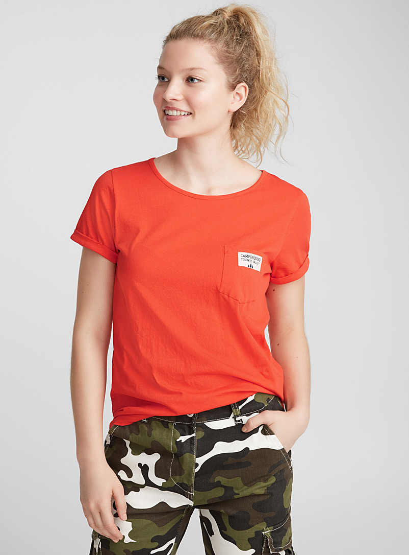 Organic cotton accent pocket tee - Short Sleeves - Red
